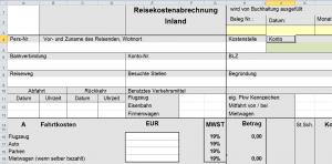 Reisekostenabrechnung Formular