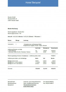 Hotelrechnung mit Business Package minimiert Übernachtungskosten
