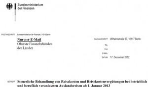 Neue Pauschalen für Verpflegungsmehraufwand und Übernachtungskosten in 2013